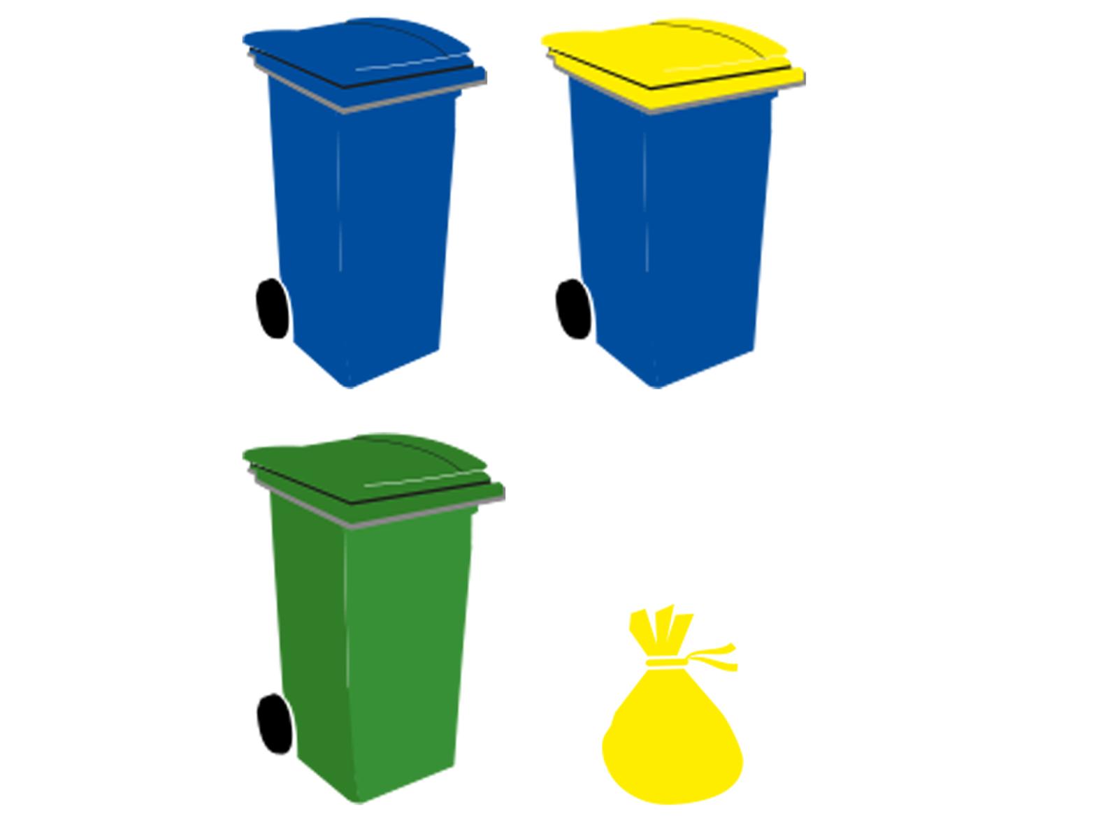 différentes poubelles : verte, bleue, bleue avec un couvercle jaune