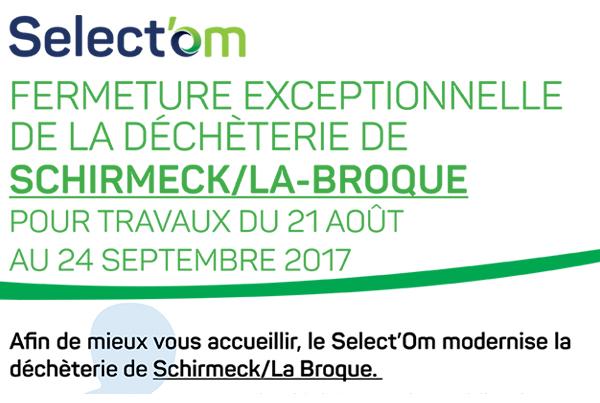Fermeture exceptionnelle déchèterie de Schirmeck / La Broque
