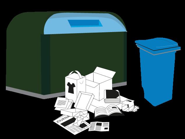 poubelle bleue et conteneur bleu avec des déchets papiers