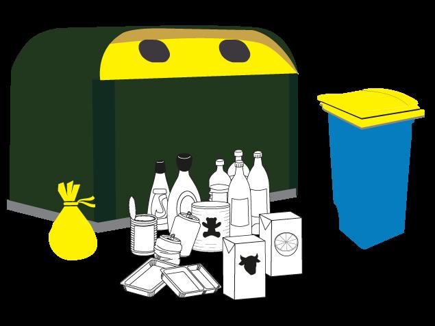 conteneur et poubelle jaune avec déchets plastiques