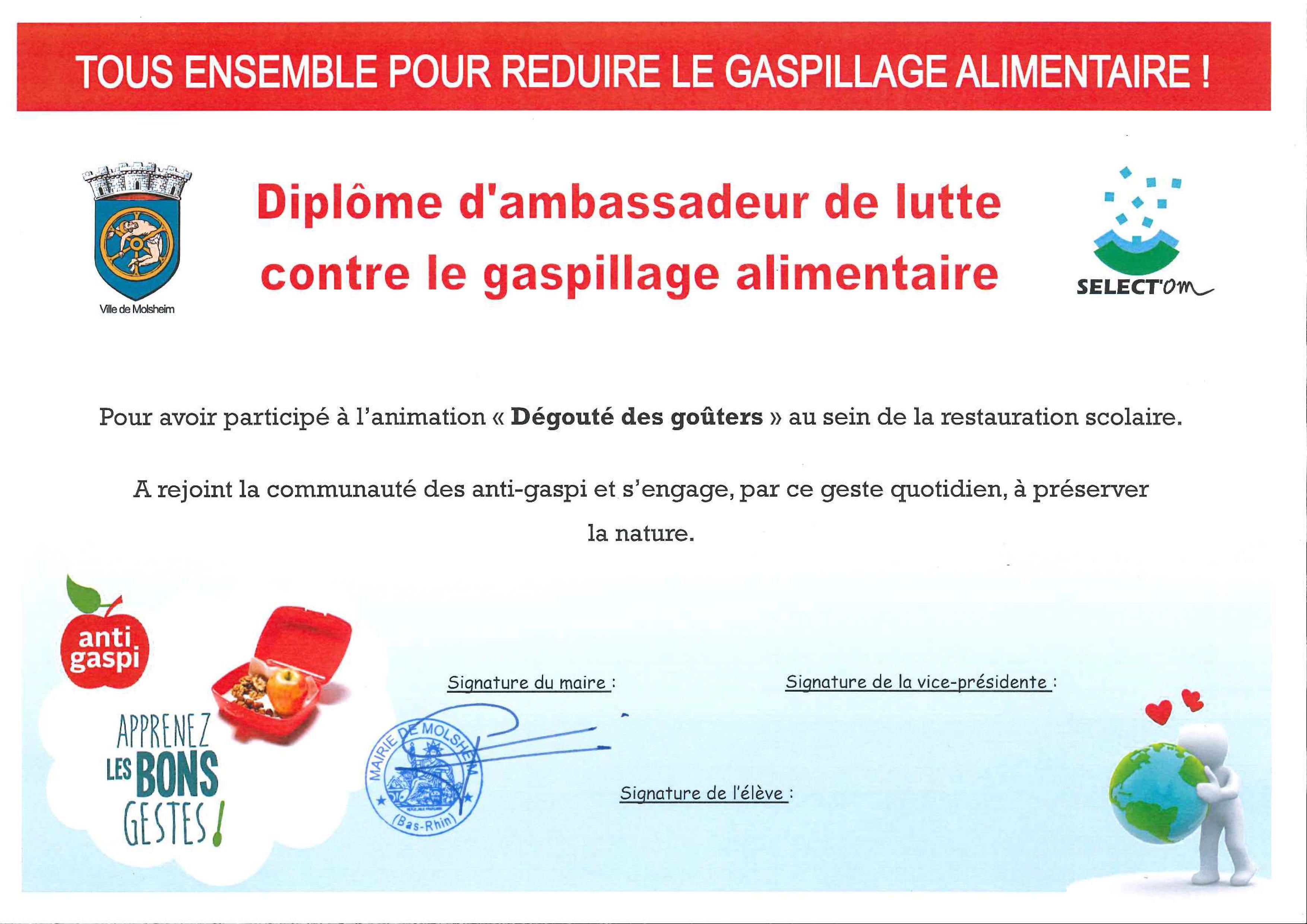 Diplôme d'ambassadeur de lutte contre le gaspillage alimentaire